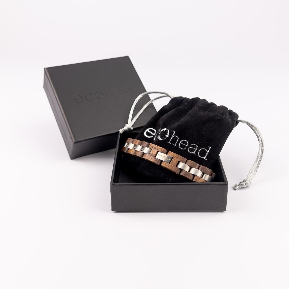 Ecohead Náramok na ruku - Brown Silver s krabičkou gift box