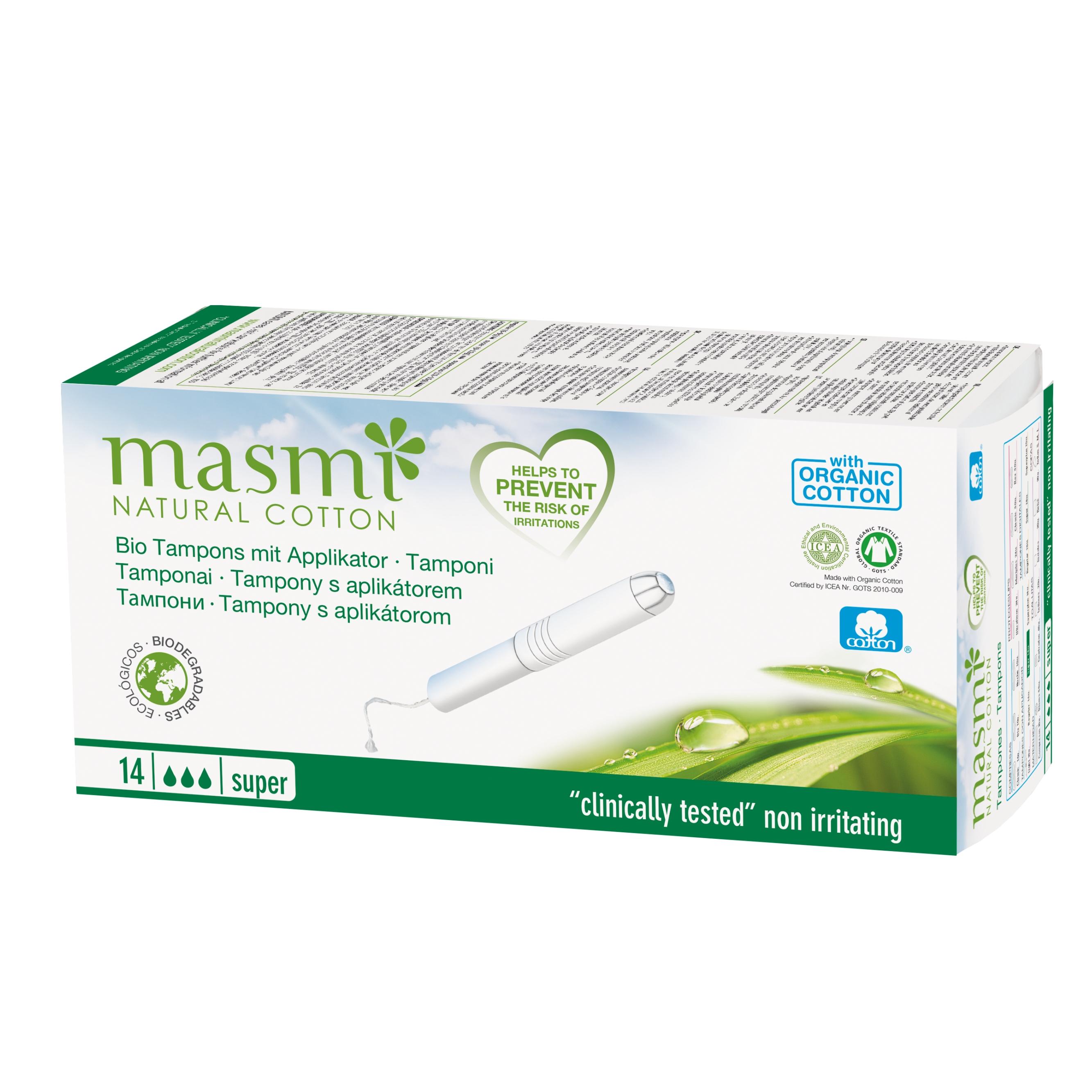 Tampóny z organickej bavlny s aplikátorom Super MASMA