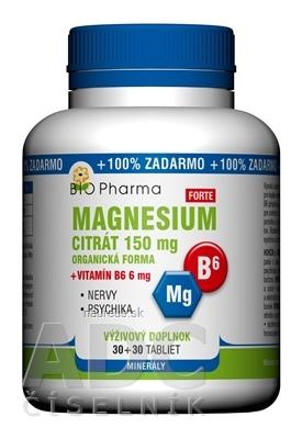 BIO-Pharma s.r.o. BIO Pharma Magnesium citrát 150mg + Vitamín B6 tbl 30+30 (100% ZADARMO) (60 ks) 60 ks