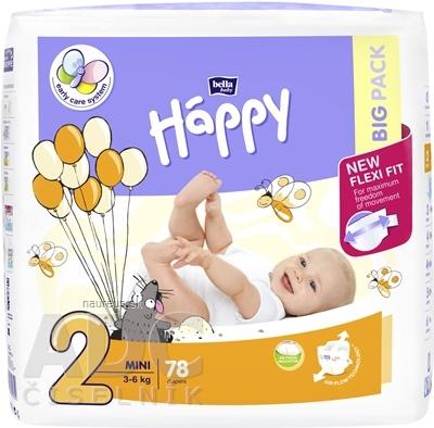 Torunskie Zaklady Materialow Opatrunkowych S.A. bella HAPPY 2 MINI detské plienky (3-6 kg) 1x78 ks