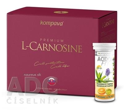 KOMPAVA spol. s r. o. kompava Premium L-Carnosine + Darček cps 60 ks + ACIDO FIT pomaranč tbl eff 10 ks grátis, 1x1 set 1 set