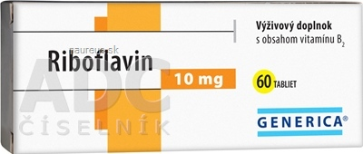 GENERICA spol. s r.o. GENERICA Riboflavin 10 mg tbl 1x60 ks 60 ks