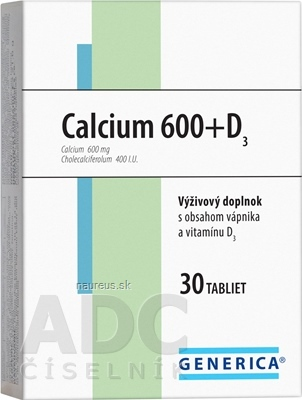 GENERICA spol. s r.o. GENERICA Calcium 600+D3 tbl 1x30 ks 30 ks