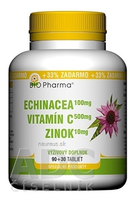 BIO-Pharma s.r.o. BIO Pharma Echinacea, Vitamín C, Zinok tbl 90+30 (33% ZADARMO) (120 ks)