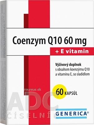 GENERICA spol. s r.o. GENERICA Coenzym Q10 60 mg + E vitamin cps 1x60 ks 60 ks