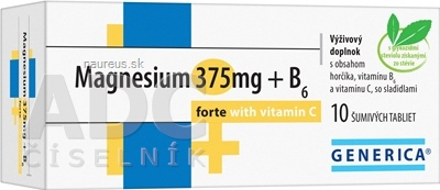 GENERICA spol. s r.o. GENERICA Magnesium 375 mg + B6 forte s vitamínom C tbl eff 1x10 ks 10 ks