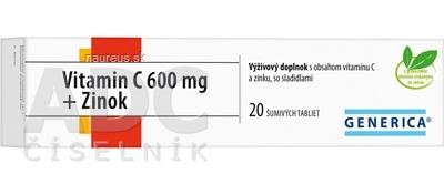 GENERICA spol. s r.o. GENERICA Vitamin C 600 mg + Zinok tbl eff 1x20 ks 20 ks