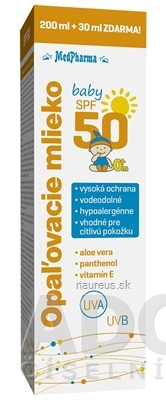 MedPharma, spol. s r.o. MedPharma OPAĽOVACIE MLIEKO BABY SPF 50 pre deti 200+30 ml zdarma (230 ml) 200 ml