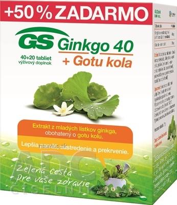 GREEN - SWAN PHARMACEUTICALS CR, a.s. GS Ginkgo 40 + Gotu kola tbl 40+20 zadarmo (60 ks) 60 ks