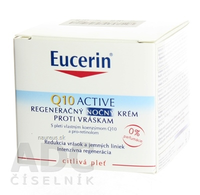 BEIERSDORF AG Eucerin Q10 ACTIVE nočný krém proti vráskam regeneračný na citlivú pokožku 1x50 ml 50 ml