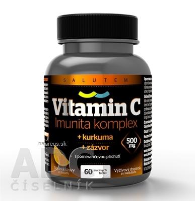 Salutem Pharma s.r.o. Vitamín C 500 mg Imunita komplex SALUTEM cmúľacie tablety s kurkumou a zázvorom, pomarančová príchuť 1x60 ks 60 ks