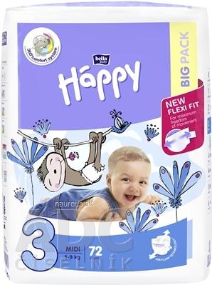 Torunskie Zaklady Materialow Opatrunkowych S.A. bella HAPPY 3 MIDI detské plienky (5-9 kg) 1x72 ks