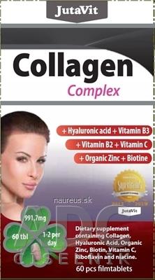 JuvaPharma Kft. JutaVit Kolagén komplex + kyselina hyalurónová, vitamíny B3, B2, C + organický zinok a biotín tbl 1x60 ks
