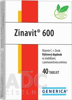 GENERICA spol. s r.o. GENERICA Zinavit 600 s pomarančovou arómou 40 ks