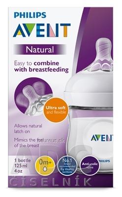 Philips Avent AVENT FĽAŠA Natural PP 125 ml polopriehľadná, cumlík ultra soft (0m+) novorodenecký, mäkký (SCF030/17)1x1 ks 125 ml