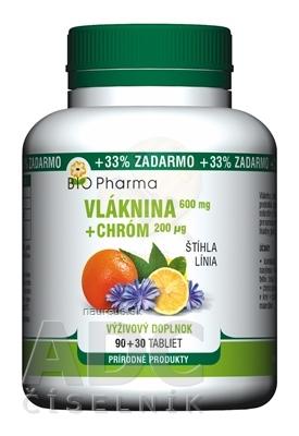 BIO-Pharma s.r.o. BIO Pharma Vláknina 600 mg, Chróm 200 µg tbl 90+30 (33% ZADARMO) (120 ks) 120 ks