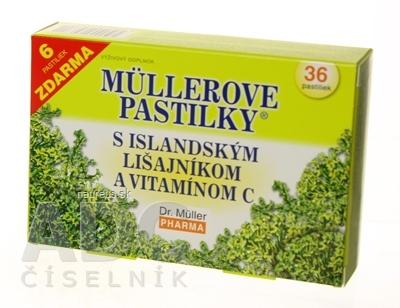 Dr. Müller Pharma s.r.o. MÜLLEROVE PASTILKY S ISLAND. LIŠAJNÍKOM A VIT. C (na odkašliavanie) 30+6 zadarmo (36 ks)