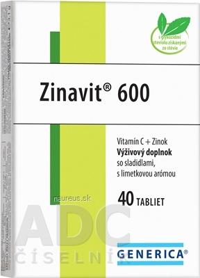 GENERICA spol. s r.o. GENERICA Zinavit 600 s limetkovou arómou 40 ks