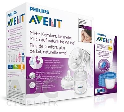Philips Avent AVENT Manuálna odsávačka mlieka Natural AKCIA odsávačka 1ks + Darček VIA poháriky180ml 5ks, 1x1 set
