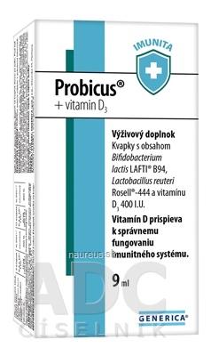 GENERICA spol. s r.o. GENERICA Probicus + vitamin D3 kvapky 1x9 ml