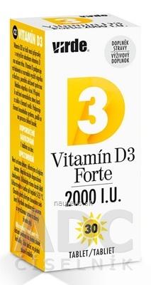 VIRDE spol. s r.o. VIRDE Vitamín D3 Forte 2000 I.U. tbl 1x30 ks