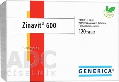 GENERICA spol. s r.o. GENERICA Zinavit 600 s pomarančovou arómou tbl (vitamín C + Zinok) 1x120 ks 120 ks