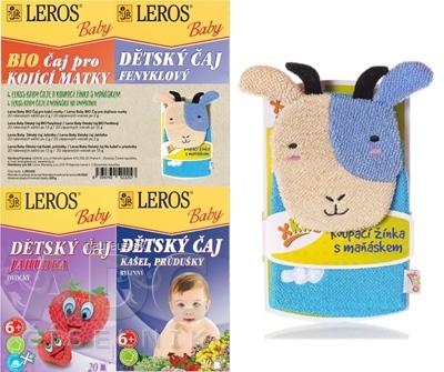LEROS, s r.o. LEROS BABY 4 ČAJE A MAŇUŠKA NA UMÝVANIE BIO pre dojčiace matky + BIO feniklový + Jahôdka + Kašeľ, priedušky + maňuška, 1x1 set