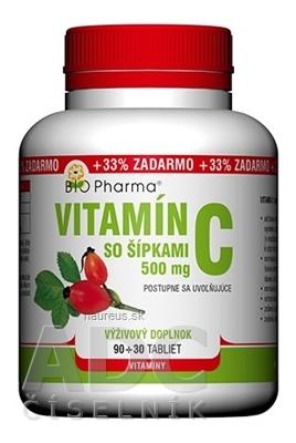 BIO-Pharma s.r.o. BIO Pharma Vitamín C so šípkami 500 mg tbl 90+30 (33% ZADARMO) (120 ks)