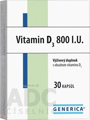 GENERICA spol. s r.o. GENERICA Vitamin D3 800 I.U. cps 1x30 ks 30 ks