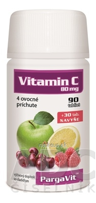FF Servis, spol. s r.o. PargaVit VITAMÍN C Mix tbl ovocné príchute (90+ 30 navyše) 1x120 ks