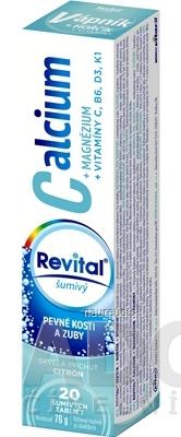 VITAR s.r.o. Revital Calcium+MAGNÉZIUM+VITAMÍNY C, B6, D3, K1 tbl eff s príchuťou citrónu 1x20 ks 20 ks