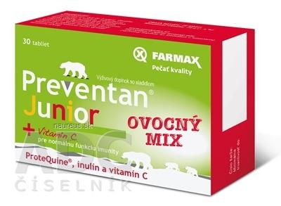 SVUS Pharma a.s. FARMAX Preventan Junior + vitamín C ovocný mix, tbl 1x30 ks 30 ks