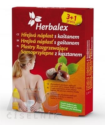 Herbalex Hrejivá náplasť s gaštanom 3+1 grátis (4 ks) + darček, 1x1 set