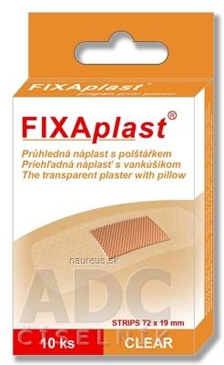 ALFA VITA, s.r.o. FIXAplast CLEAR náplasť strip priehľadná, s vankúšikom 72x19 mm, 1x10 ks