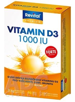 VITAR s.r.o. Revital Vitamín D3 FORTE 1 000 IU tbl s príchuťou maliny 1x90 ks