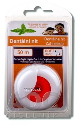 SOFTdent Dentálna niť voskovaná a s mätou, 50 m, 1x1 ks