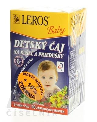 LEROS, s r.o. LEROS BABY DETSKÝ ČAJ NA KAŠEL A PRIEDUŠKY 20x1,5 g (30 g) 20 x 1.5 g