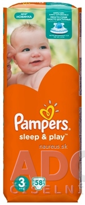 Procter and Gamble DS Polska Sp. z o.o. PAMPERS SLEEP&PLAY 3 Midi detské plienky 1x58 ks 58 ks