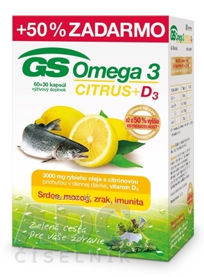 GREEN - SWAN PHARMACEUTICALS CR, a.s. GS Omega 3 CITRUS + D3 cps 60+30 (50% zadarmo) (90 ks)