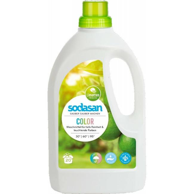 SODASAN COLOR tekutý prací prostriedok na farebné prádlo LIME s BIO esenciálnymi olejmi 1,5L 1,5 L
