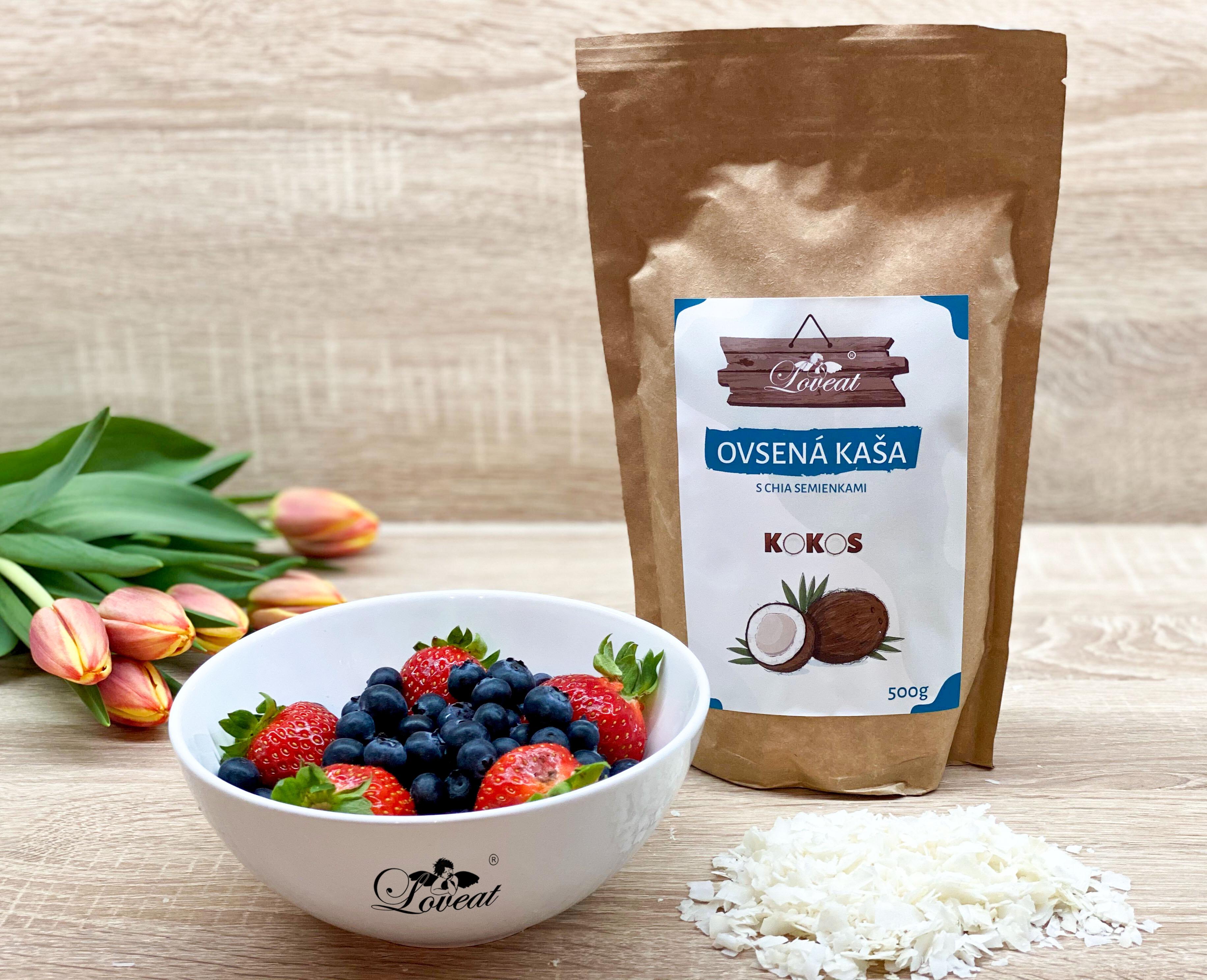 Loveat Fitness ovsená kaša LOVEAT s chia semienkami – Kokosová 500 g 500 g