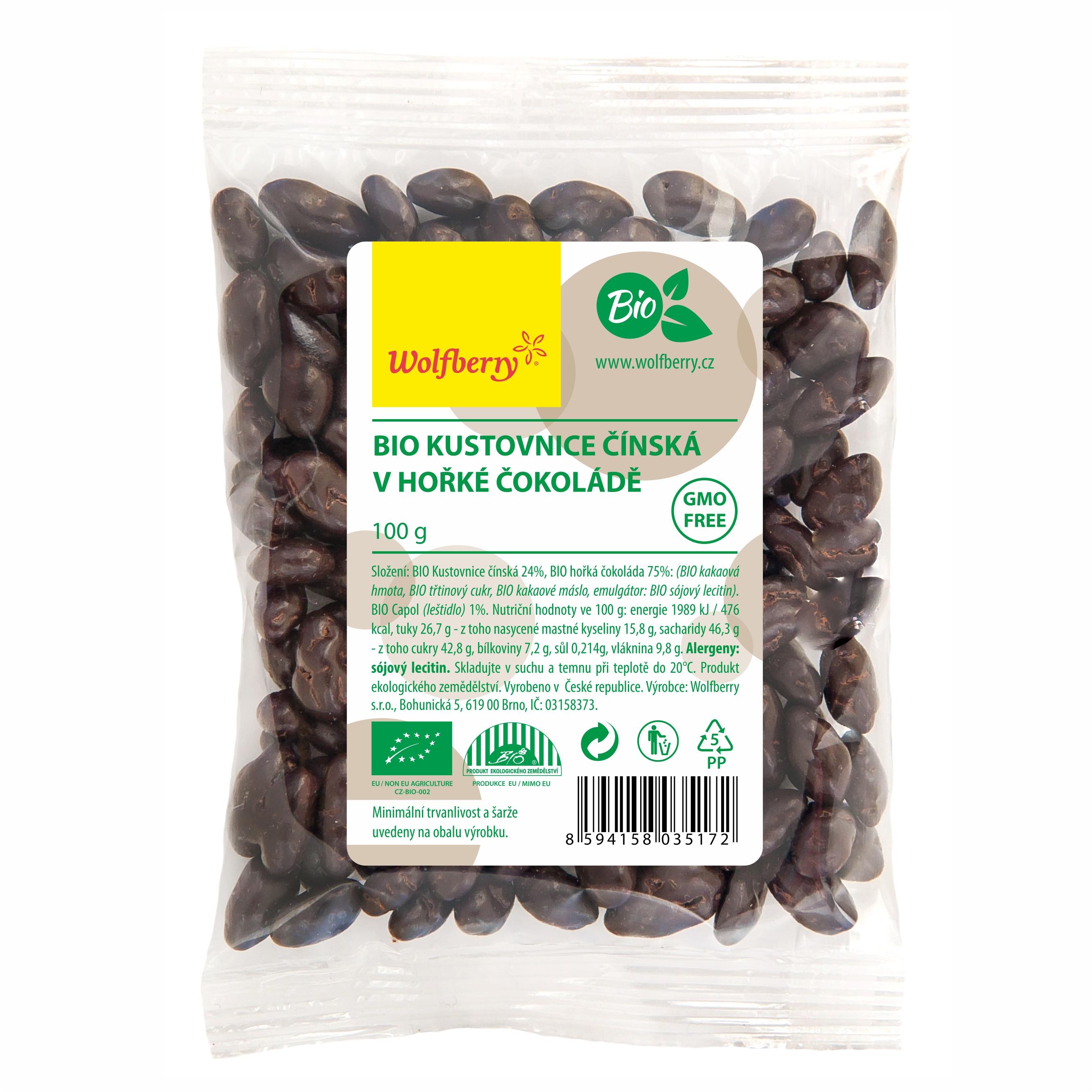 Wolfberry WF Goji v horkej čokoláde BIO 100 g Wolfberry * 100 g