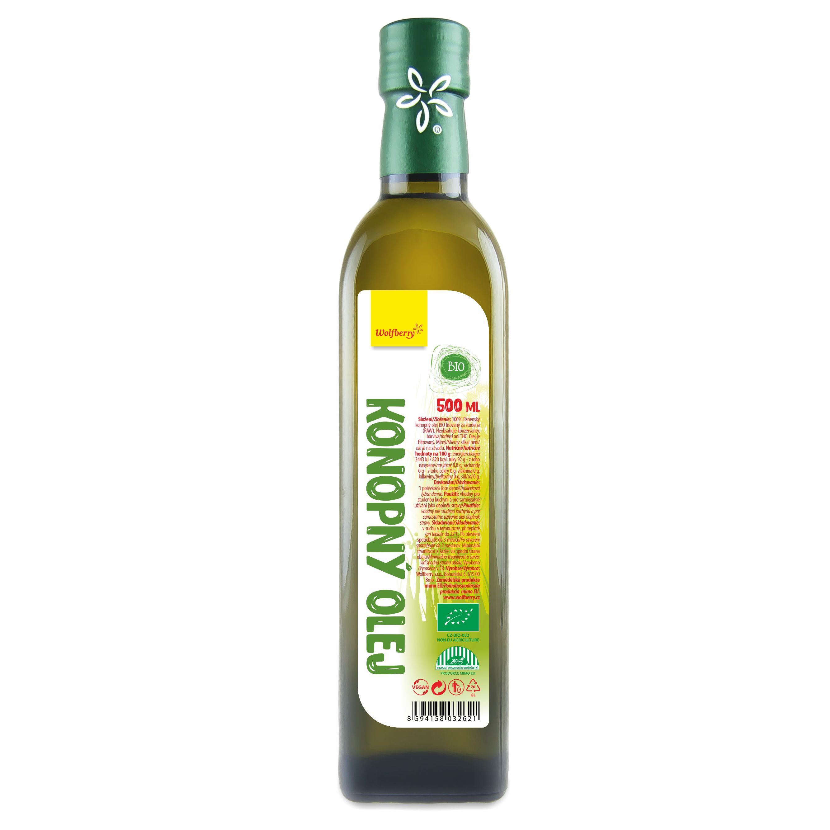 Wolfberry Konopný olej BIO 500 ml Wolfberry * 500ml