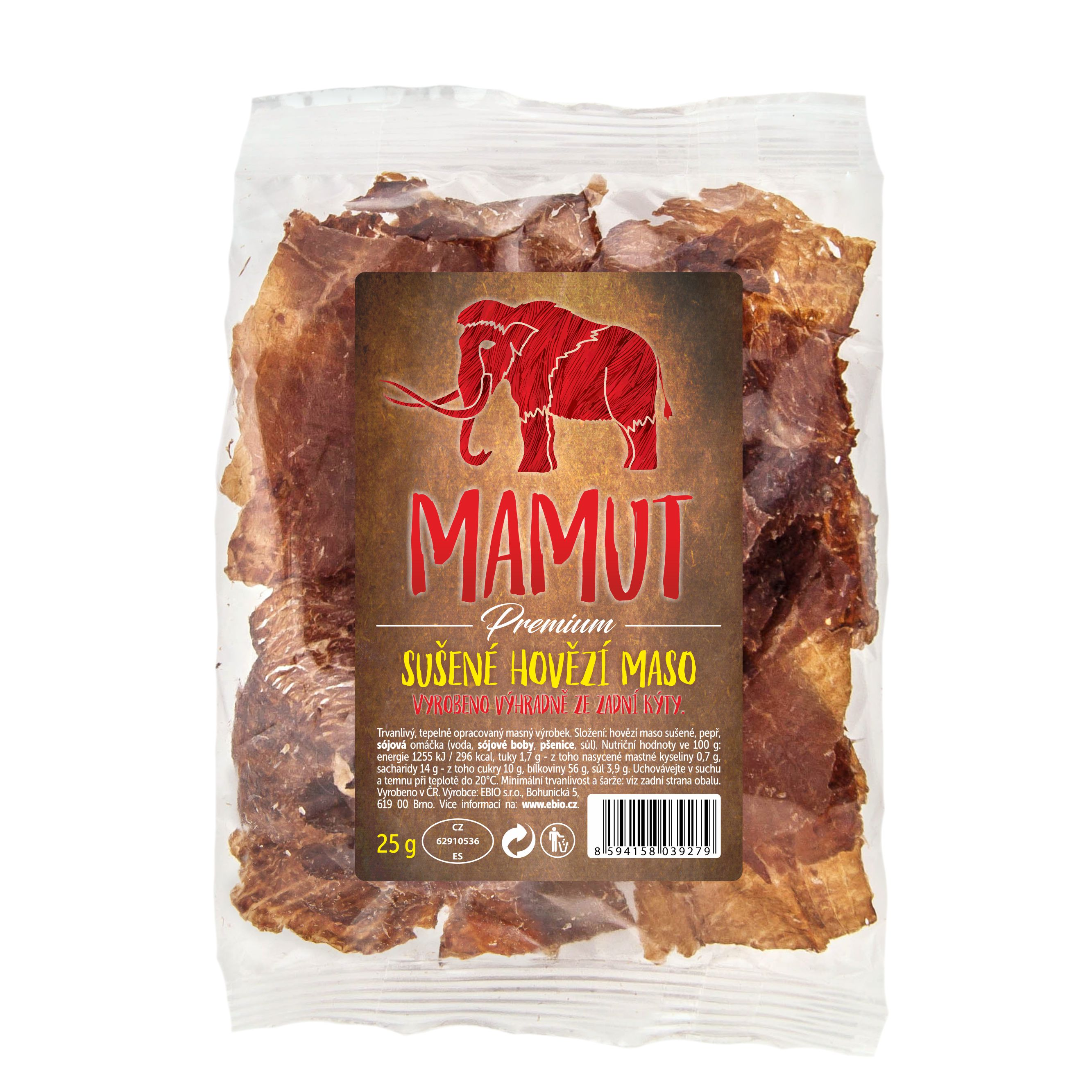 Mamut WF Sušené hovädzie mäso rovno do pusy 25 g Mamut 25 g