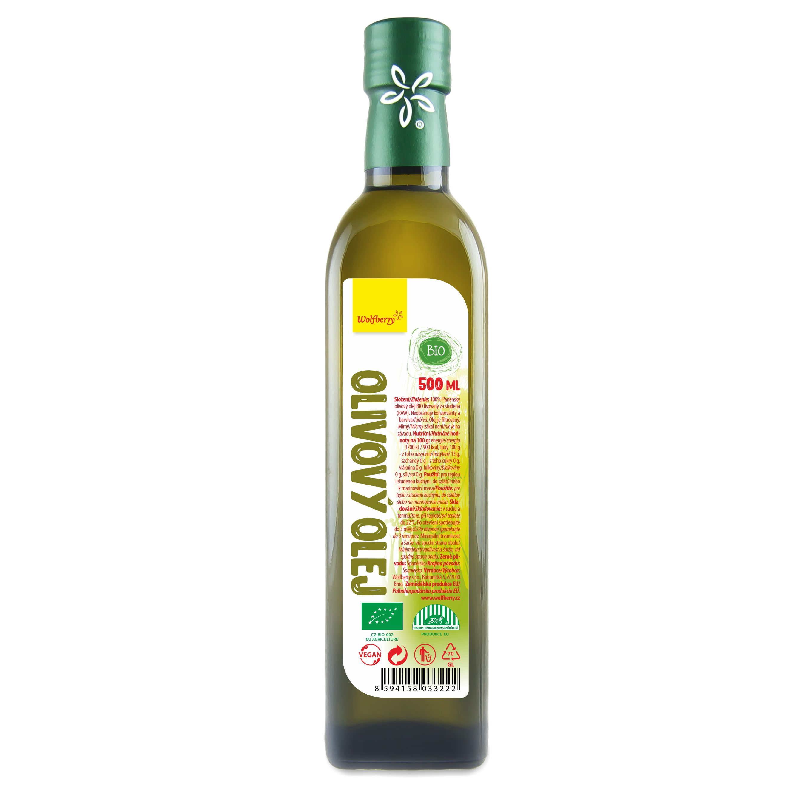 Wolfberry Olivový olej panenský BIO 500 ml Wolfberry * 500ml