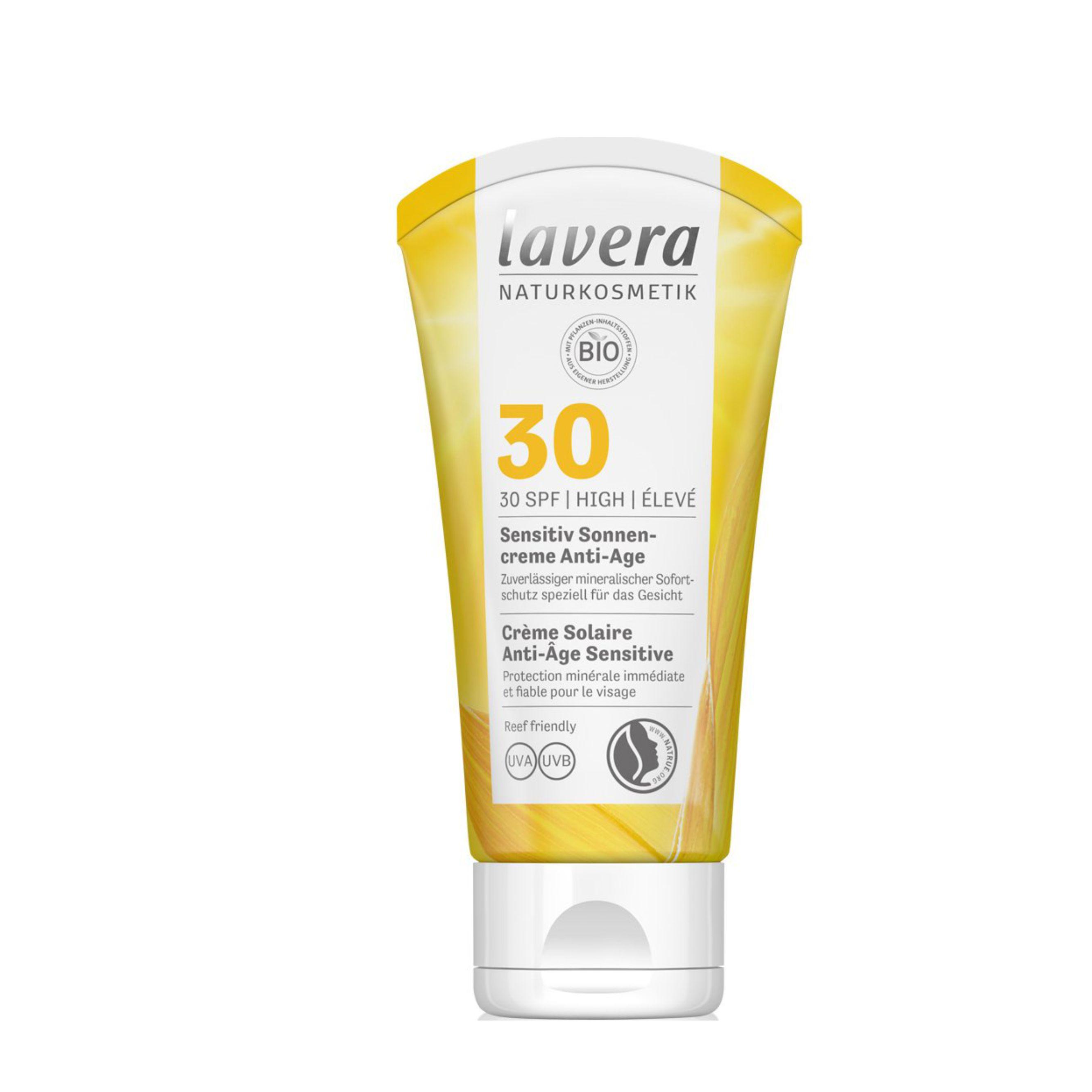 Opaľovací krém Sensitiv SPF 30 BIO Anti-Age 50 ml Lavera