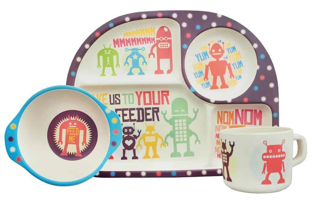 Ecoffee cup 3-dielny detský BimBamBoo bambusový set Roboti