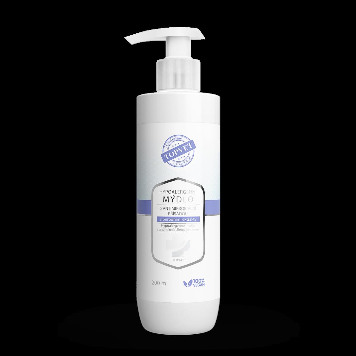TOPVET Hypoalergénne mydlo s antimikr. prísadou s prírodnými extraktmi 200ml