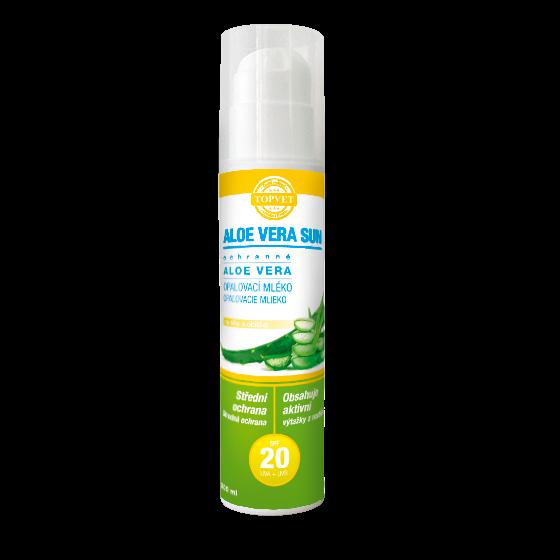TOPVET Aloe vera opaľovacie mlieko SPF 20 200ml 200 ml