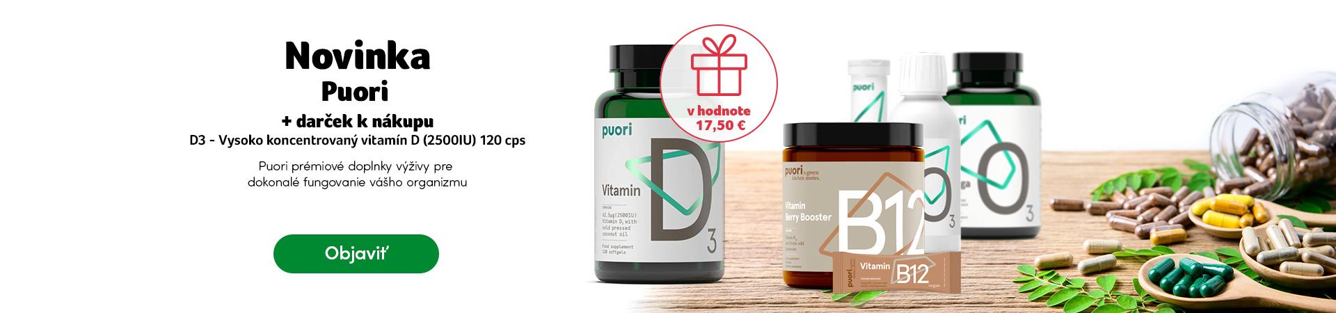 Darček k nákupu Puori - vitamín D (2500IU) 120 kapsúl
